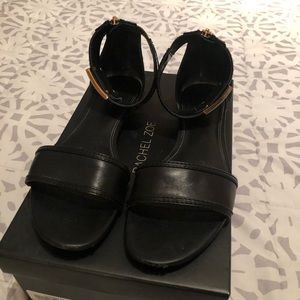 Flat black leather ankle strap sandals!